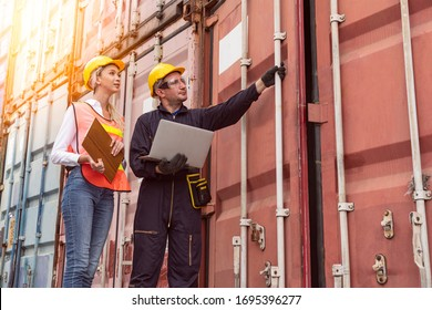 Warehouse logistic staffs opening Containers box door checking products from Cargo freight ship at Cargo container shipping