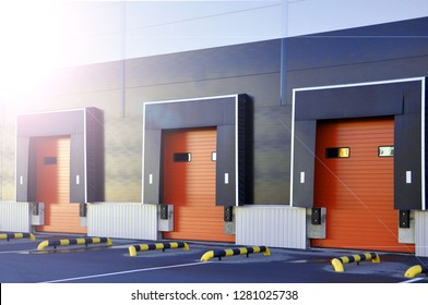 warehouse logistics complex. loading gates