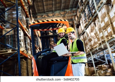 Warehouse logistics work being done with forklift