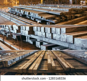 Warehouse metal blank. Electroplating plant for the metal. Collage of pictures