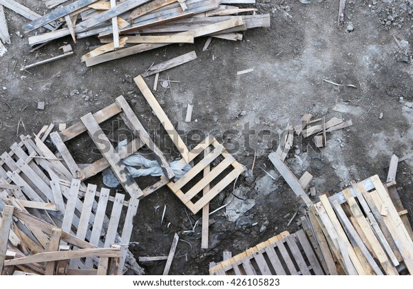 Warehouse Old Destroyed Wooden Pallets Stock Photo Edit Now 426105823
