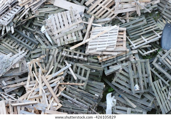 Warehouse Old Destroyed Wooden Pallets Stock Photo Edit Now 426105829