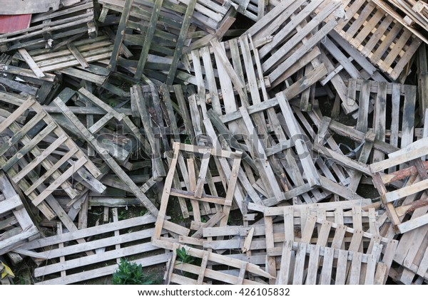 Warehouse Old Destroyed Wooden Pallets Stock Photo Edit Now 426105832