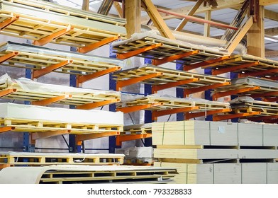 Warehouse of particle boards or chipboards materail for support the furniture manufacturers. Production room.
