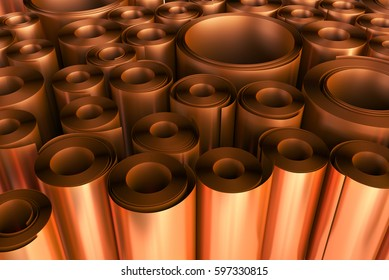 Warehouse of sheet copper in rolls. 3d illustration.