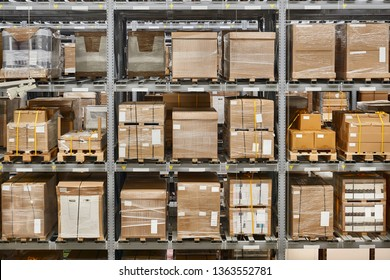 Warehouse shelves with loaded loaded up with bulk boxes