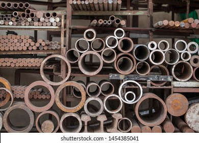 warehouse shop for the sale of metal structures, the profile of iron pipes, corners, channel bars, I-beams, industry steel bar