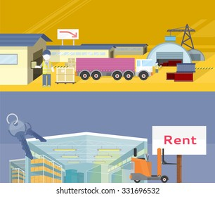 Warehouse storage service product. Warehousing and rent space, service storage, transportation and logistic, delivery container, distribution package illustration. Raster version