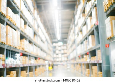 Warehouse store blurred background with bokeh logistic shipping