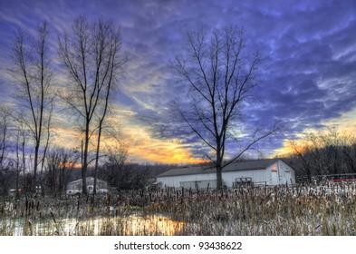 Warehouse in sunset (at Bandemer Park, Ann Arbor, Michigan, USA)