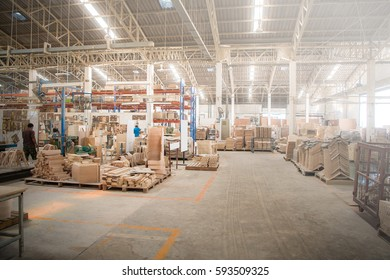 Warehouse of wooden furniture industry production