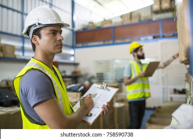 Warehouse worker checking stock products for prepare to packing to customer.