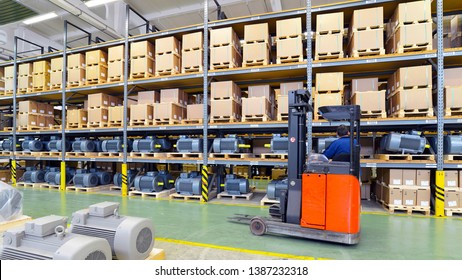 warehouses with shelves full of goods in an industrial company - storage of produced goods for dispatch to the customer