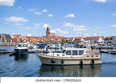 WAREN (MUERITZ), GERMANY - JUNE 9, 2020: lakeside view of Waren, a town and climatic spa in the state of Mecklenburg-Vorpommern