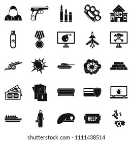 Warfare icons set. Simple set of 25 warfare icons for web isolated on white background