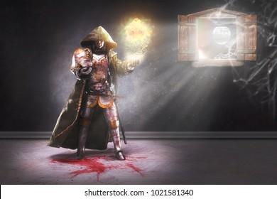 Warlock conjuring a fireball. 3D illustration.