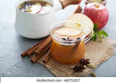 Warm apple cider with cinnamon, star anice and cardamom