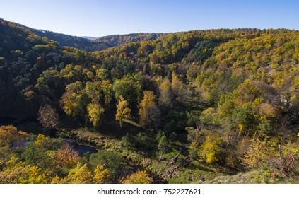 Warm autumn light over Kamp Valley in Waldviertel region, Austria