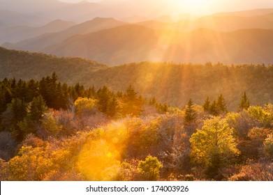 Warm Autumn Sunshine Flares over a Southern Appalachian Landscape in Western North Carolina