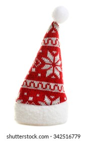 warm and beautiful Christmas hat on an isolated white background