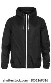 Warm black windbreaker jacket with hood