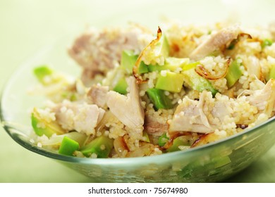 Warm chicken salad with avocado and couscous