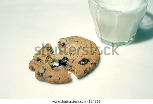 A warm, chocolate chip cookie, and a glass of milk.