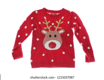 Warm Christmas sweater on white background. Seasonal clothing