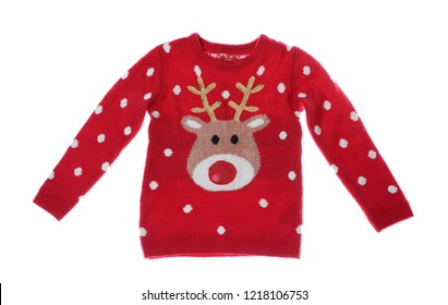 Warm Christmas sweater on white background. Seasonal clothing