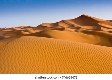 Warm colored Sand dunes at Hassi Labiad near Merzouga at sunset, Morocco