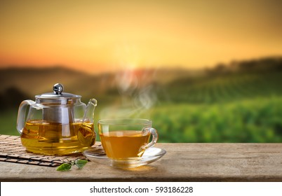 Warm cup of tea and glass jars and organic green tea leaf on wooden table with the tea plantations background with copy space