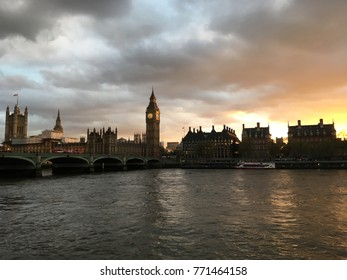 warm day of a beautiful landscape, Parliament and Big Ben against the sky, London, England, April 2017 (filmed by phone)