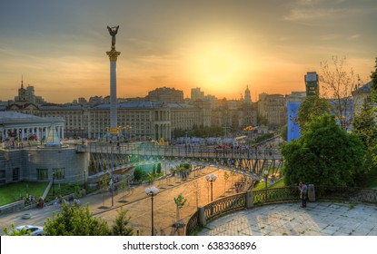 Warm evening on Maidan Nezalezhnosti (Independence square), Institutska street, evening city, hdr panorama, spring weekend evening, Kyiv, Ukraine
