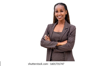 Warm, friendly, beautiful cheerful african american executive business woman isolated on white background