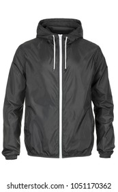 Warm gray windbreaker jacket with hood
