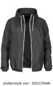 Warm gray windbreaker jacket with hood