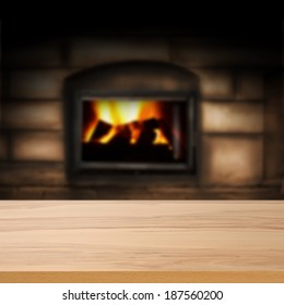 warm interior and fireplace