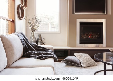 Warm inviting interior with gas log fireplace
