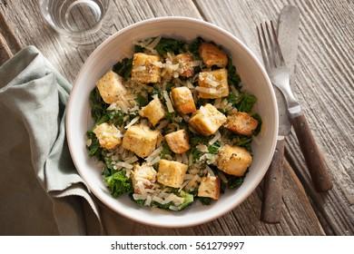 Warm Kale Caesar with Tofu