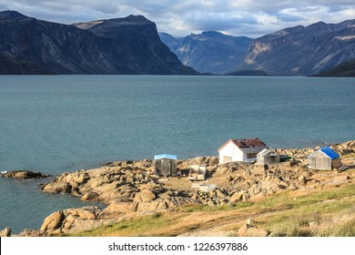 Warm late-afternoon light on the edge of Pangnirtung, Nunavut, Canada