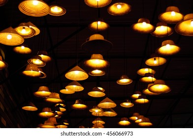 Warm light from vintage lamp on ceiling,decorative in home
