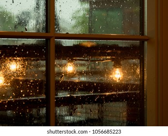 Warm lights on a dark rainy day