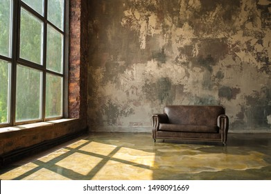 Warm Loft Interior with leather sofa