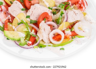 Warm meat salad with vegetables. Whole background.