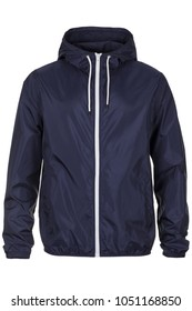 Warm navy blue windbreaker jacket with hood