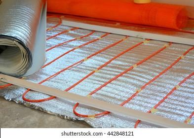 Warm radiant floor construction installation