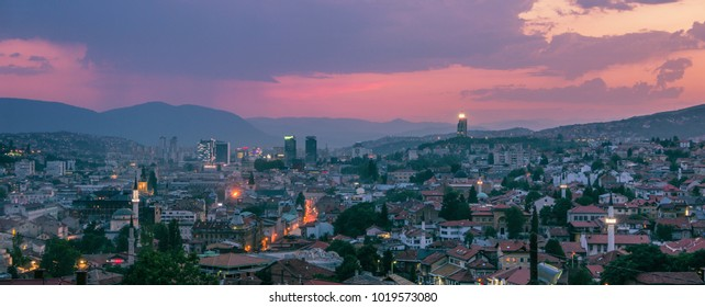Warm and rainy evening in Sarajevo, wide panorama purple touch