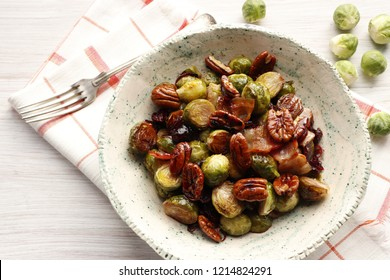 Warm salad of brussels sprouts, bacon, nuts and dried cranberries.