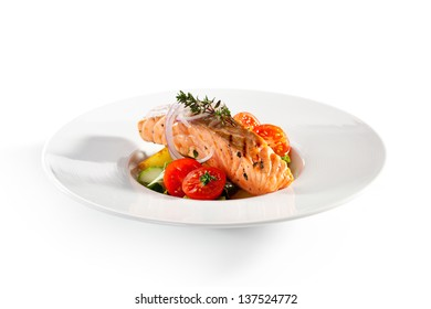 Warm Salad with Salmon Steak