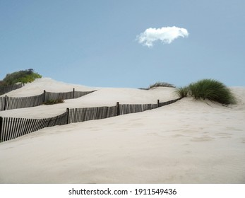 Warm sand dunes with diagonal sand fences a single cloud in the sky. All together creating a tranquil scene.